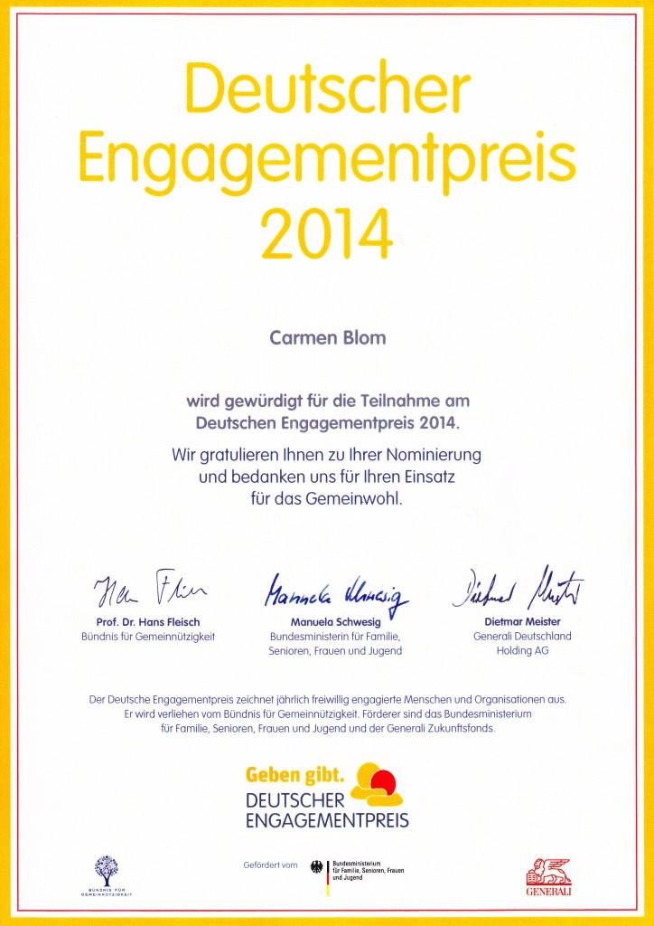 Gratulation zur Nominierung und Anerkennung für die Verdienste um das Gemeinwohl.